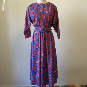 Vintage 80s belted floral dress